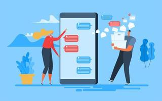 femme envoie des applications mobiles de texte