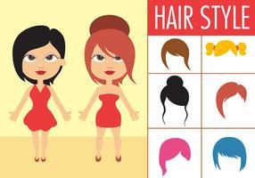 Collection gratuite de cheveux féminins vecteur