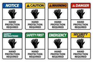 ensemble de panneaux de protection des mains requis