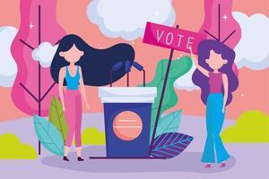 élections électorales féminines vecteur