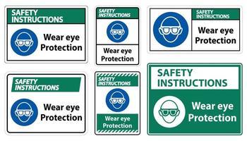 porter des panneaux de protection oculaire de styles différents vecteur