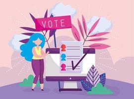 modèle de carte de vote en ligne vecteur
