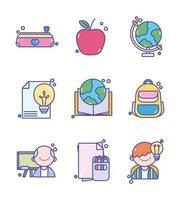 ensemble d & # 39; icônes éducation et école