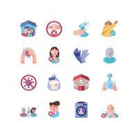 ensemble d'icônes avec des méthodes de prévention des coronavirus