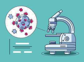 recherche au microscope de laboratoire et coronavirus vecteur