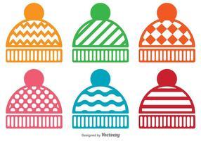 Ensemble vectoriel d'icônes de chapeau d'hiver