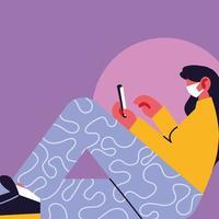 femme, porter, masque médical, et, smartphone vecteur