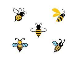 ensemble de logo abeille mignon vecteur