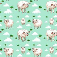 motif mouton blanc et nuages vecteur