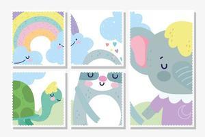 modèle de timbre mignon petits animaux divers cadres