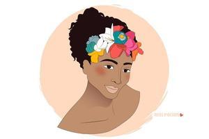 femme afro-américaine avec des fleurs en portrait de cheveux bouclés vecteur