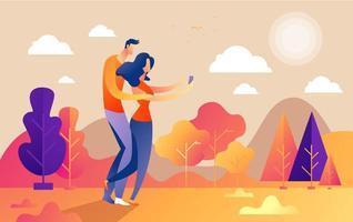 gars et fille couple personnages prennent selfie dans le parc vecteur
