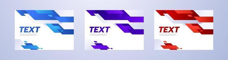 ensemble de brochures de lignes diagonales bleues rouges et violettes