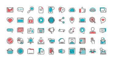 ensemble d & # 39; icônes d & # 39; art de ligne de médias sociaux vecteur