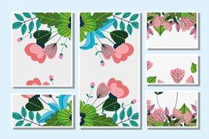 ensemble de modèle de belles cartes florales vecteur