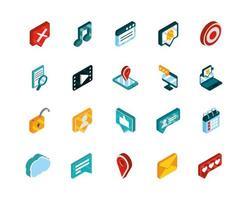 pack d'icônes isométriques de médias sociaux vecteur