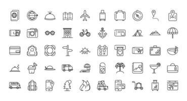 assortiment d'icônes d'art de ligne épaisse de vacances et de tourisme vecteur