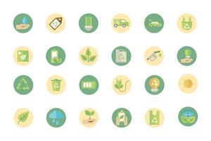 collection d'icônes de signe d'énergie écologique et verte vecteur