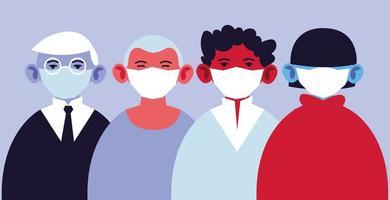 hommes utilisant des masques médicaux, protégeant contre l'infection vecteur