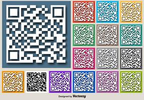 Couleur pour les boutons vectoriels RFID de l'icône du code QR blanc
