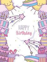 carte arc-en-ciel joyeux anniversaire vecteur