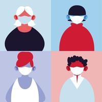 personnes portant des masques médicaux vecteur