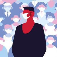 homme portant un masque médical évitant l'infection