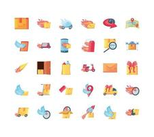 collection d & # 39; icônes de livraison rapide vecteur