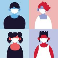 quatre personnes avec des masques médicaux vecteur