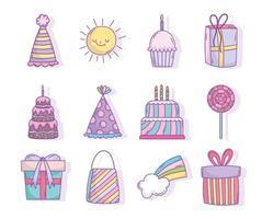 icônes de fête d'anniversaire assorties