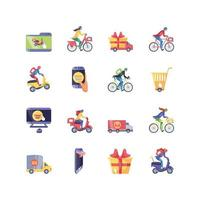 jeu d & # 39; icônes de magasinage en ligne