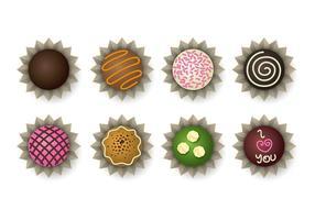 Icônes de truffe au chocolat vecteur