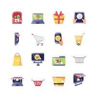 ensemble d & # 39; icônes d & # 39; achats en ligne