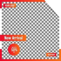 Conception de modèle de publication de médias sociaux de vente au détail décrite orange prête à imprimer vecteur