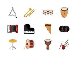 jeu d'icônes d'instruments de musique vecteur