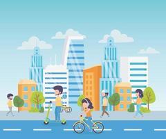 paysage urbain avec des gens vecteur