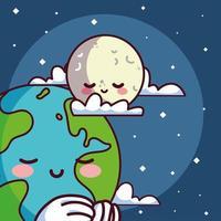 planète terre kawaii avec lune souriant