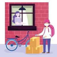 coursier à vélo livrant des boîtes en toute sécurité vecteur