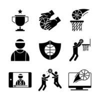 jeu d & # 39; icônes de pictogrammes de basket-ball vecteur