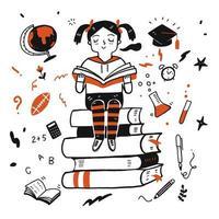 jeune fille étudiante lisant un livre vecteur