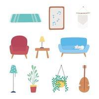 jeu d'icônes de meubles de maison