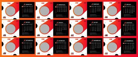 calendrier de bureau 2021 modèle de cercle fluide vecteur