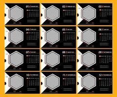 ensemble moderne de modèles de pages de calendrier de bureau 2021 vecteur