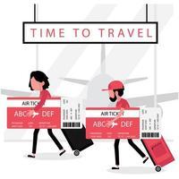 homme et femme tenant de grandes cartes d'embarquement et bagages