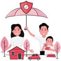 assurance habitation et automobile vecteur