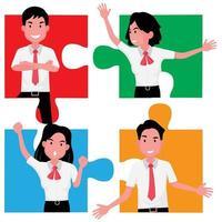 un puzzle de quatre personnes démontrant le travail d'équipe et la coopération vecteur