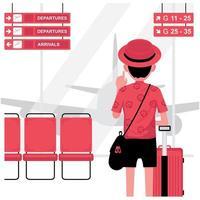 homme de tourisme avec des bagages à l'aéroport