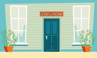 Restez à la maison signe de sensibilisation au-dessus de la porte de la maison vecteur