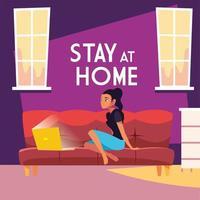 rester à la maison avec une jeune femme sur ordinateur portable vecteur