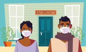 rester à la maison et un couple avec des masques vecteur
